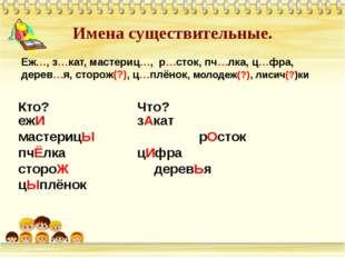 Имена существительные. Еж…, з…кат, мастериц…, р…сток, пч…лка, ц…фра, дерев…я,