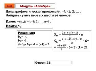 Модуль «Алгебра» Дана арифметическая прогрессия: -4; -1; 2; … . Найдите сумму