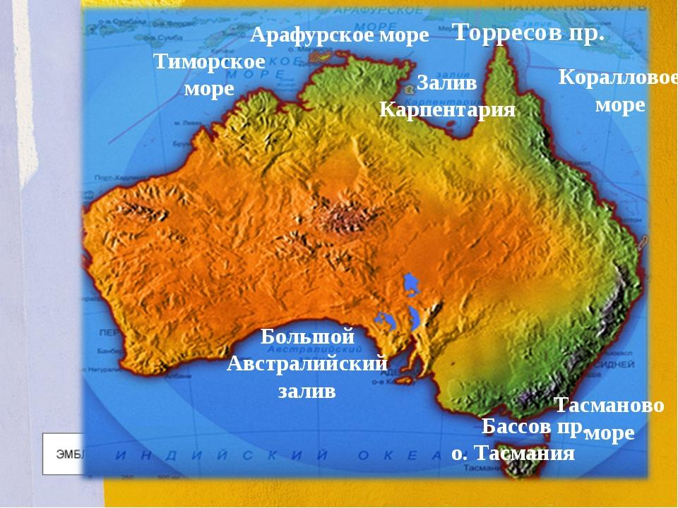 Арафурское море Тиморское море Залив Карпентария Коралловое море Большой Авст...