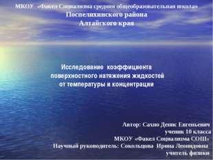 МКОУ «Факел Социализма средняя общеобразовательная школа» Поспелихинского ра