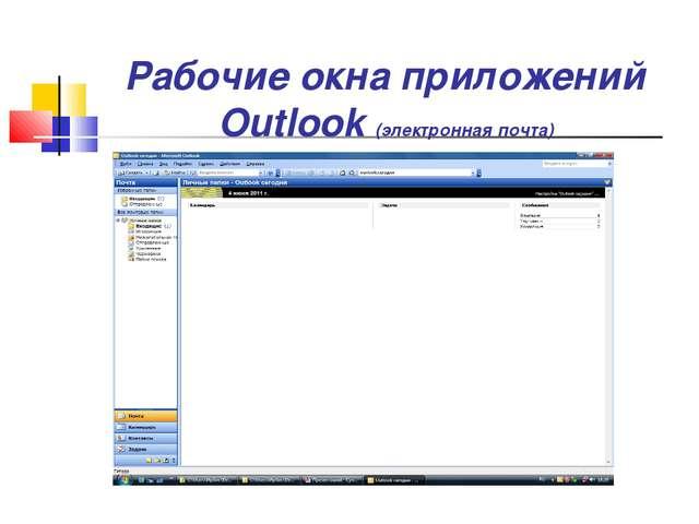 Рабочие окна приложений Outlook (электронная почта)