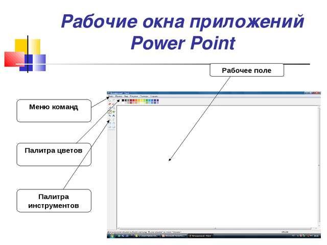 Рабочие окна приложений Power Point Палитра инструментов Палитра цветов Меню...