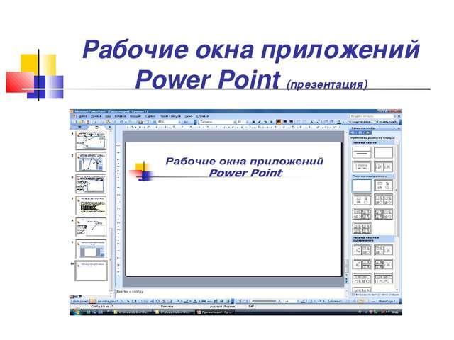 Рабочие окна приложений Power Point (презентация)