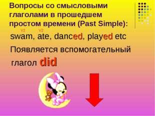 Вопросы со смысловыми глаголами в прошедшем простом времени (Past Simple): sw
