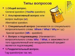 Типы вопросов 1.Общий вопрос. General question (Yes/No question) 2. Альтернат