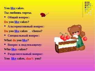 You like cakes. Ты любишь торты. Общий вопрос: Do you like cakes? Альтернатив