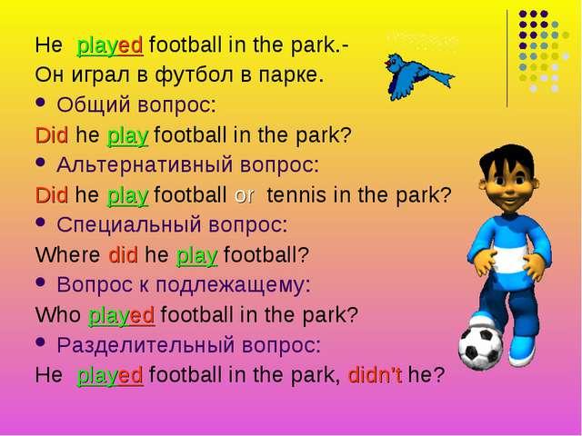 He played football in the park.- Он играл в футбол в парке. Общий вопрос: Did...
