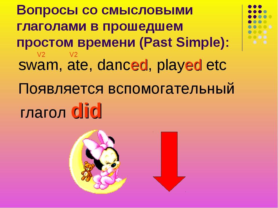 Вопросы со смысловыми глаголами в прошедшем простом времени (Past Simple): sw...