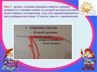 Шаг 1. процесс создания нарядных пинеток спицами начинается с вязания основы