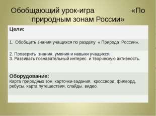 Обобщающий урок-игра «По природным зонам России» Цели: Обобщить знанияучащихс