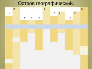 Остров географический. 2 6 1 11 1 7 8 10 3 4 5 9