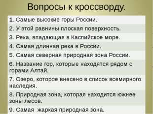 Вопросы к кроссворду. 1. Самые высокие горы России. 2. У этой равнины плоская