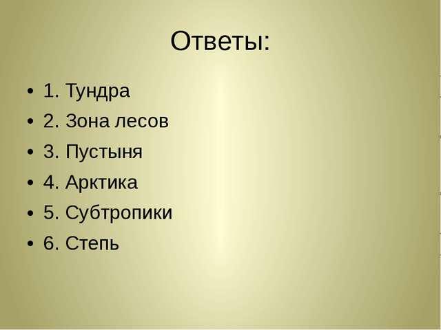 Ответы: 1. Тундра 2. Зона лесов 3. Пустыня 4. Арктика 5. Субтропики 6. Степь