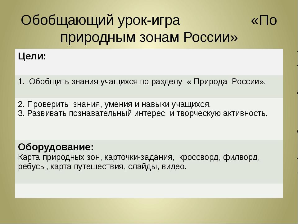 Обобщающий урок-игра «По природным зонам России» Цели: Обобщить знанияучащихс...