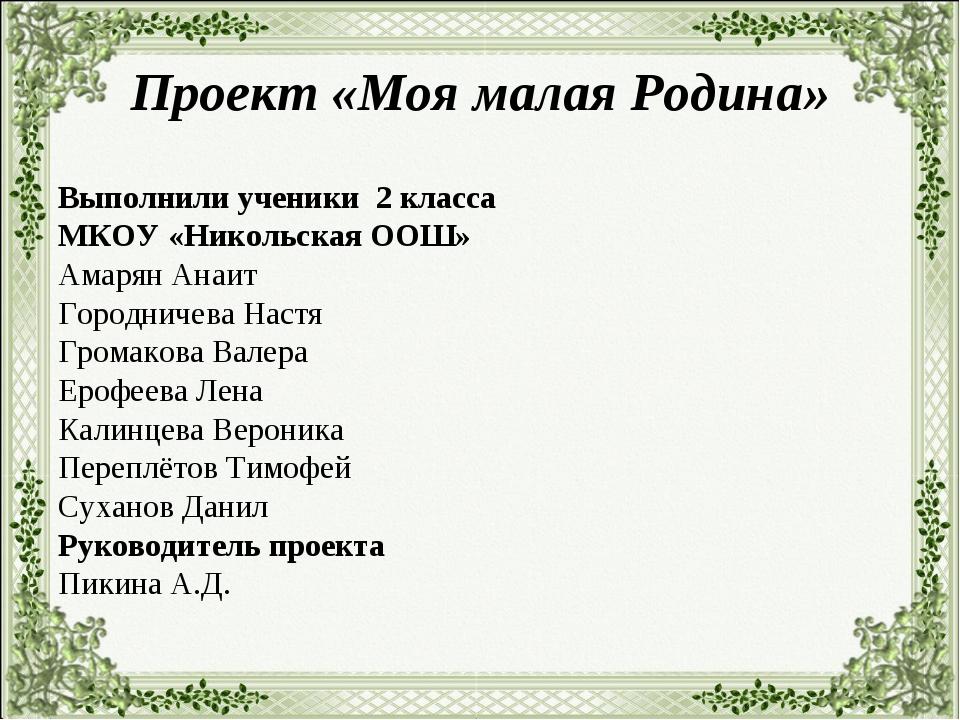 Проект «Моя малая Родина» Выполнили ученики 2 класса МКОУ «Никольская ООШ» Ам...