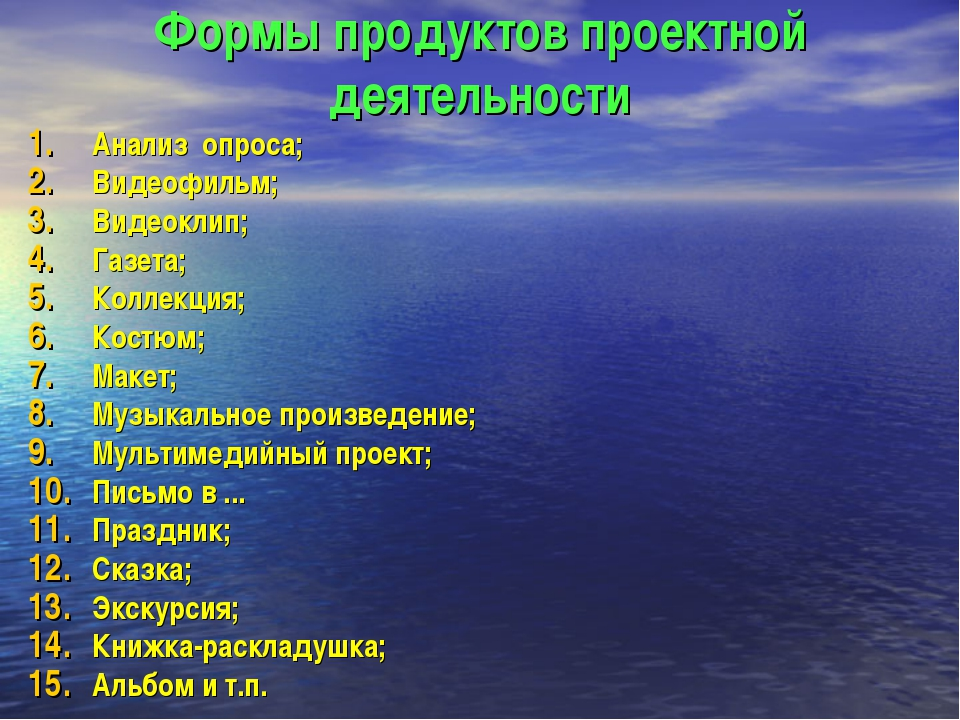 Формы продуктов проектной деятельности Анализ опроса; Видеофильм; Видеоклип;...