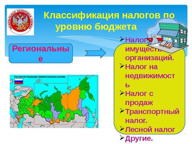 Классификация налогов по уровню бюджета Региональные Налог на имущество орга...