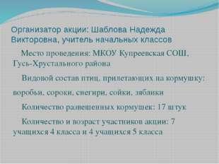 Организатор акции: Шаблова Надежда Викторовна, учитель начальных классов Мест