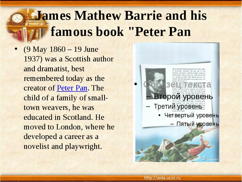 "James Mathew Barrie and his famous book ""Peter Pan (9 May 1860 – 19 June 1937..."