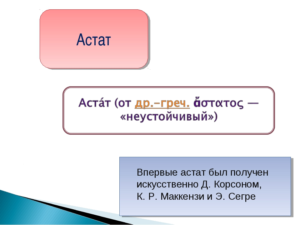 Астат Впервые астат был получен искусственно Д. Корсоном, К.Р.Маккензи и Э....