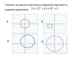 Укажите, на каком из рисунков изображена окружность, заданная уравнением 1. 2