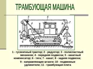 1 - гусеничный трактор; 2 - редуктор; 3 - полиспастный механизм; 4 - передняя