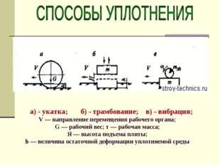 а) - укатка; б) - трамбование; в) - вибрация; V — направление перемещения ра