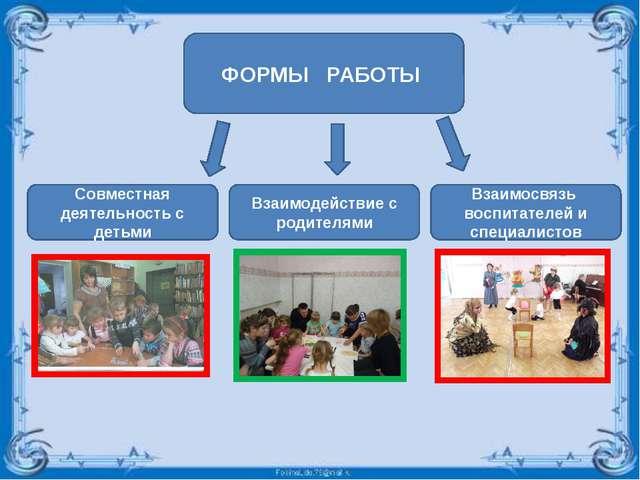 ФОРМЫ РАБОТЫ Совместная деятельность с детьми Взаимодействие с родителями Вза...