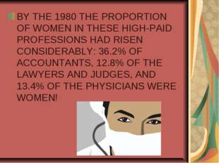 BY THE 1980 THE PROPORTION OF WOMEN IN THESE HIGH-PAID PROFESSIONS HAD RISEN
