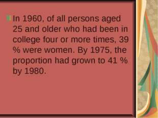 In 1960, of all persons aged 25 and older who had been in college four or mor