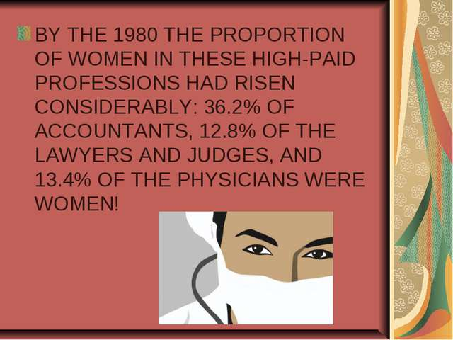 BY THE 1980 THE PROPORTION OF WOMEN IN THESE HIGH-PAID PROFESSIONS HAD RISEN...