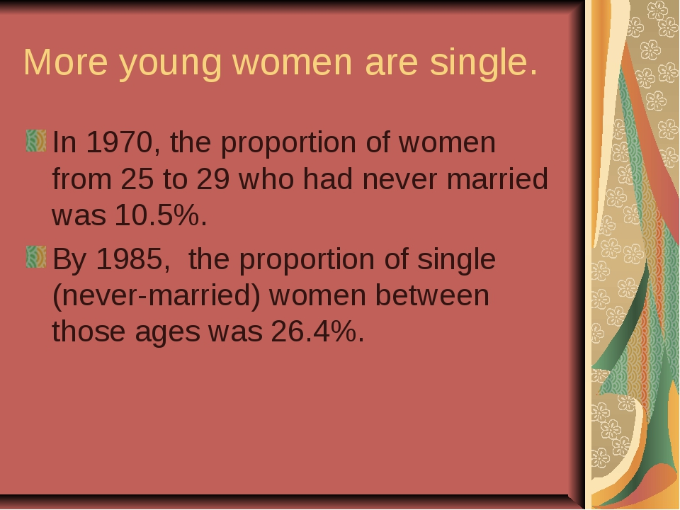 More young women are single. In 1970, the proportion of women from 25 to 29 w...