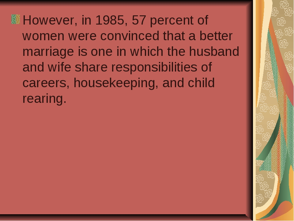 However, in 1985, 57 percent of women were convinced that a better marriage...