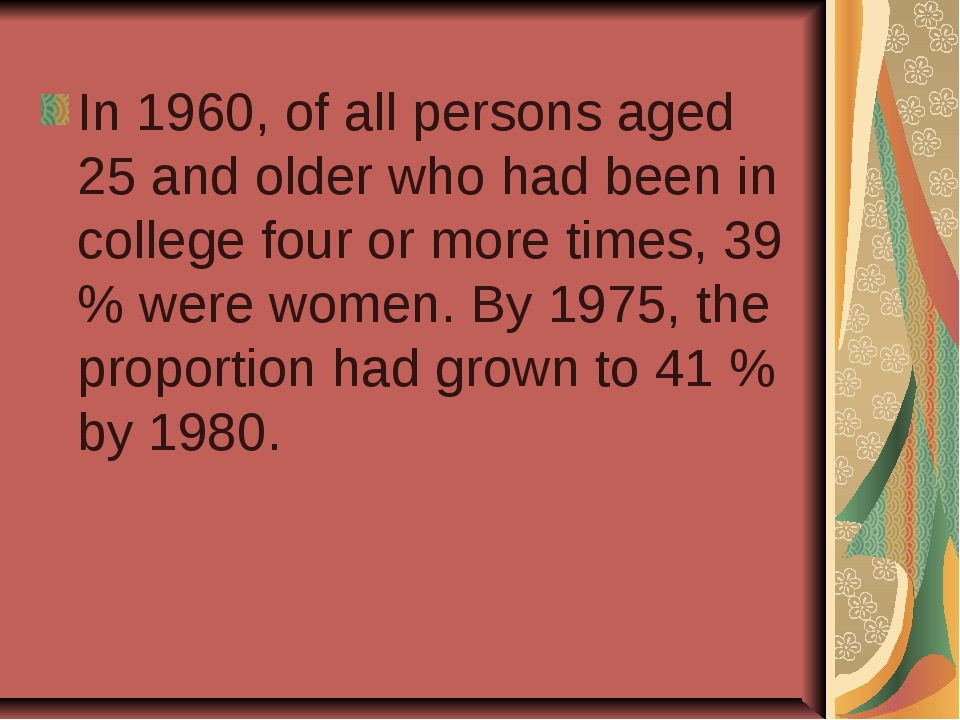 In 1960, of all persons aged 25 and older who had been in college four or mor...