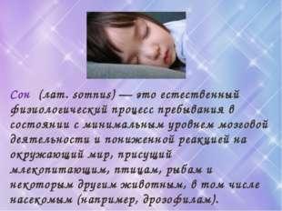 Сон (лат. somnus) — это естественный физиологический процесс пребывания в сос