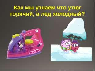 Как мы узнаем что утюг горячий, а лед холодный?