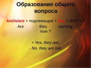Образование общего вопроса Am/is/are + подлежащее + Ving + ВЧП + ? Are they w