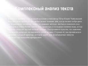 Комплексный анализ текста В каждом времени года великий русский композитор Пё