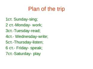 Plan of the trip 1ст. Sunday-sing; 2 cт.-Monday- work; 3cт.-Tuesday-read; 4cт
