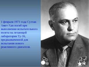 1 февраля 1971 года Султан Амет-Хан погиб при выполнении испытательного полет