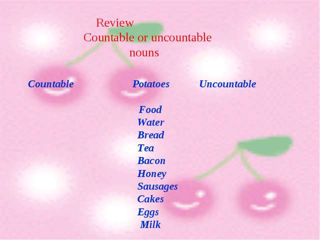 Review Countable or uncountable nouns Countable Potatoes Uncountable Food Wat...