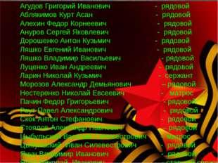 Агудов Григорий Иванович - рядовой Аблякимов Курт Асан - рядовой Алехин Федо