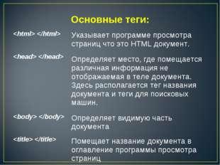 Основные теги:  Указывает программе просмотра страниц что это HTML документ