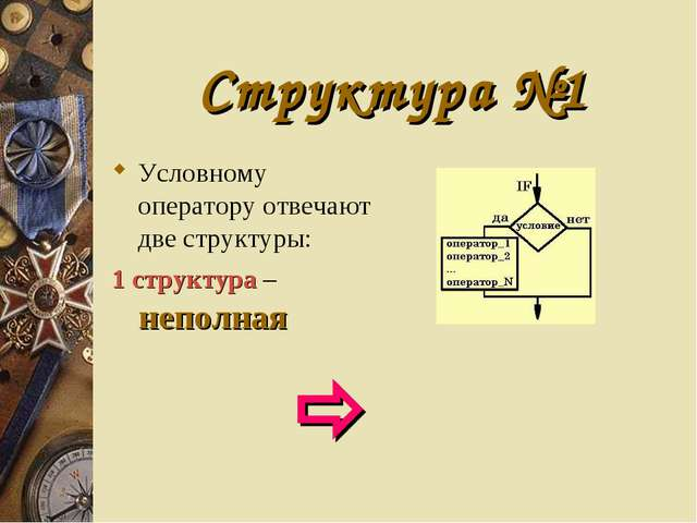 Структура №1 Условному оператору отвечают две структуры: 1 структура – неполн...