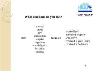 8 What emotions do you feel? I feel success proud joy admiration surprise hap