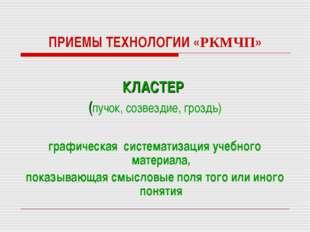 ПРИЕМЫ ТЕХНОЛОГИИ «РКМЧП» КЛАСТЕР (пучок, созвездие, гроздь) графическая сист