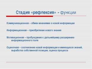 Стадия «рефлексия» - функции Коммуникационная – обмен мнениями о новой информ