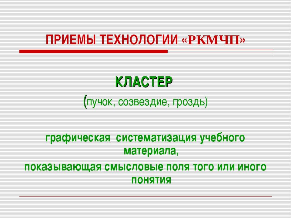 ПРИЕМЫ ТЕХНОЛОГИИ «РКМЧП» КЛАСТЕР (пучок, созвездие, гроздь) графическая сист...
