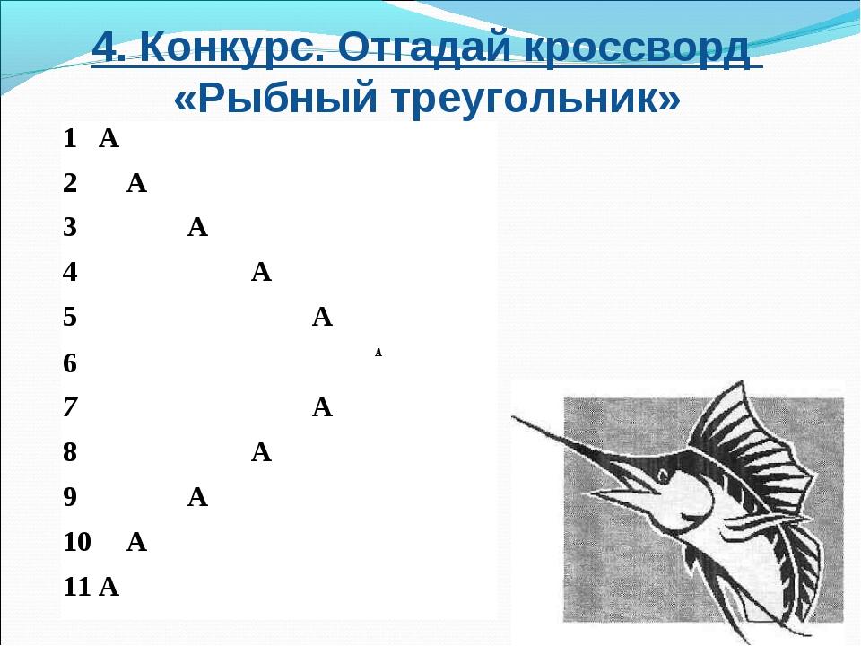 4. Конкурс. Отгадай кроссворд «Рыбный треугольник» 1 А 2А 3А...