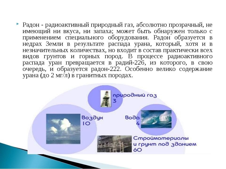 Радон - радиоактивный природный газ, абсолютно прозрачный, не имеющий ни вкус...